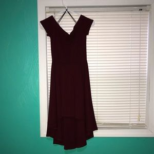 Maroon off the shoulder high low dress